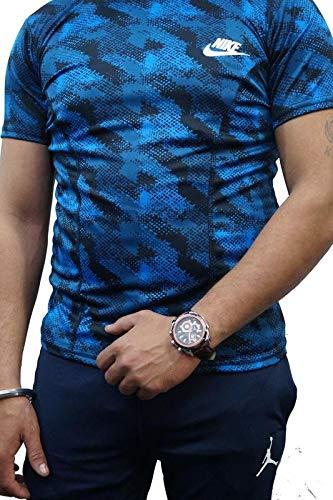 SMENTER Men's Lycra Printed Half Sleeves t Shirt for Men's