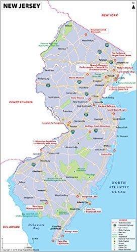 Amazon.com : New Jersey Map - Laminated (36\