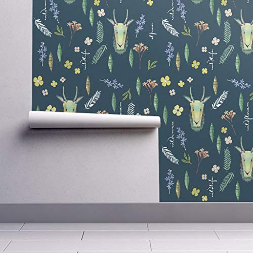 Removable Water-Activated Wallpaper - Goat Goats Blue Farm Animals Nursery Decor Kids Goat Wildflower Flower by Mulberry Tree - 12in x 24in Smooth Textured Water-Activated Wallpaper Test Swatch
