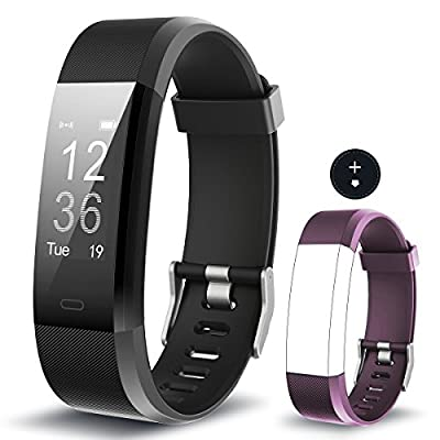 Fitness Tracker MRS LONG YG3 Plus Heart Rate Monitor Activity Tracker Waterproof/Pedometer/Call Message Alert/Sleep Monitor/Calorie/ for Android and iOS (black+purple band)