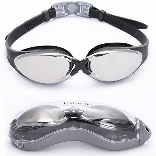Experten Schwimmbrille von Bezzee Pro - gespiegelte Gläser - Antibeschlagbeschichtung - Wasserdicht - Anpassbar - Schwimmbrille für Erwachsene 180 ° Weitwinkel Sicht - Für Männer Frauen Kinder Jugendliche +10 - Beinhaltet ein GRATIS Schutzetui & Ohrstöpsel (schwarz)