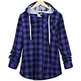Liraly Womens Tops Clearance New Fashion Womens Long Sleeve Plaid Hooded Cardigan Jacket Blouse Autumn Shirt Sweater Casual Coats(US-4 /CN-S,Blue )