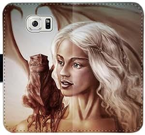 Caja del cuero Arte del juego de tronos Daenerys Targaryen Emilia Clarke Dragon Girl Npp S7G2D Funda Samsung Galaxy S6 funda Ef38OV tapa del teléfono celular Funda Caso duro para los muchachos