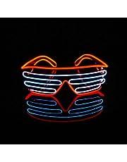 Lerway Double Couleur EL Wire Chemion Noir Neno Flexible Lumineux Masque Led Costume Flash Lunettes Fluo+Boîte de Contrôle Standard, Fête Decorations,Parti de Mariage, Noël Fête Nar (blanc + rouge)
