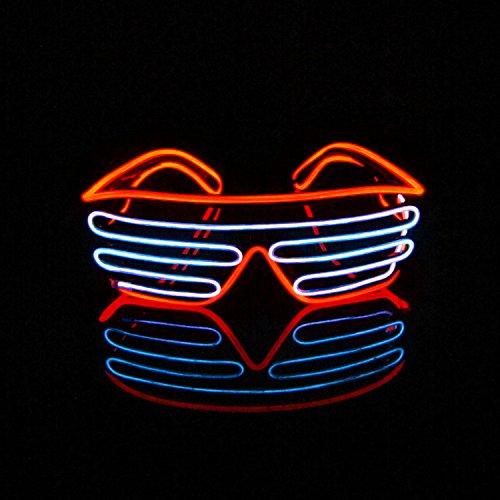 [Aquat Voice Activated Light-up Illuminated Neon Electroluminescent El Wire LED Glasses Light Costumes Glasses (Red/White, Black] (Group Office Costumes)