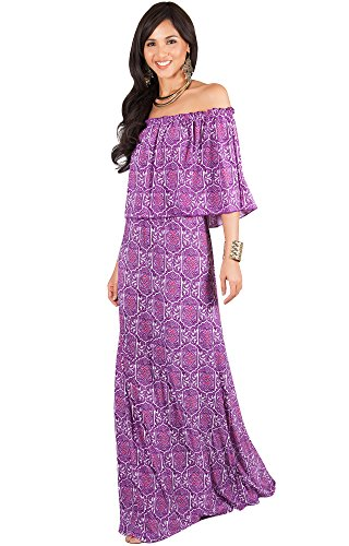 KOH KOH Womens Long Sexy Bohemian Print Off Shoulder Strapless Summer Maxi Dress