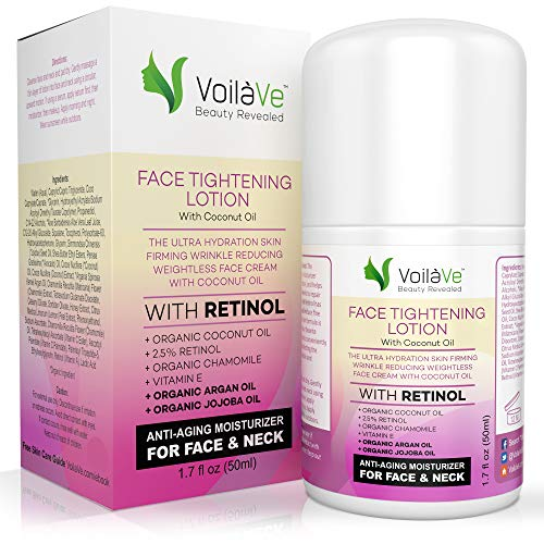 VoilaVe Face Tightening Lotion, Improved Formula, Face Moisturizer with Organic Coconut Oil, Retinol, Honey & Lemon Peel Extracts, Tripeptide-5, Light Coconut Scent, Airless Pump Dispenser 1.7 fl. oz.