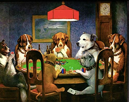 Dogs Playing Poker Vintage Fabric Cloth Rolled Wall Poster Print -- Size: (Vintage Print Fabrics)