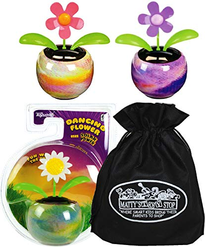 Flower Power Toy Bag - Toysmith Solar Power Dancing Flowers Complete Gift Set Bundle with Bonus Matty's Toy Stop Storage Bag - 3 Pack