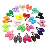Elesa Miracle Baby Girl Hair Clips Toddlers Infants Kids Hair Bow Grosgrain Ribbon Snap Clips Barrettes (20pcs Bow Clips)