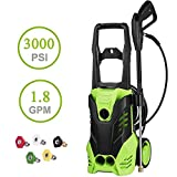 PaPafix 3000 PSI High Pressure Washer Electric Power Washer, 1.80 GPM 1800W Professional Washer Cleaner Machine with 5 Quick-Connect Spray Nozzles and Rolling Wheels