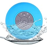 Ambox Water Resistant Bluetooth 3.0 Shower Speaker, Handsfree Portable Speakerphone with Built-in Mic, 6hrs of playtime, Control Buttons and Dedicated Suction Cup (Blue)