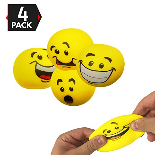 Big Mo's Toys Stress Balls - Emoji Sensory Stress Reliever Fidget Toy Stretch Ball for ADD / ADHD - 4 Pack