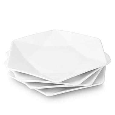 Delling Star-Geometric 11'' White Dinner Plates Set of 4