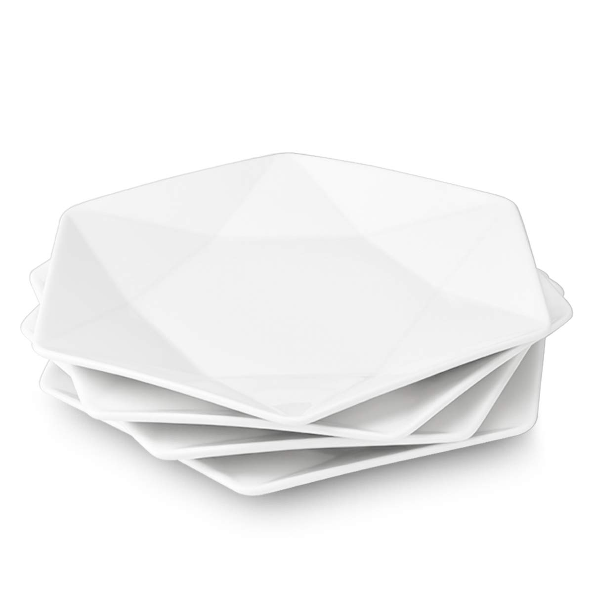"Delling Star-Geometric 11""White Dinner Plates, Large Serving Platters Dessert Salad Plates for Meat, Appetizers, Dessert, Sushi, Party ,Set of 4"