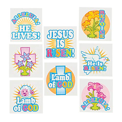 Fun Express - Inspirational Easter Tattoos - Apparel Accessories - Temporary Tattoos - Easter - 72 Pieces]()