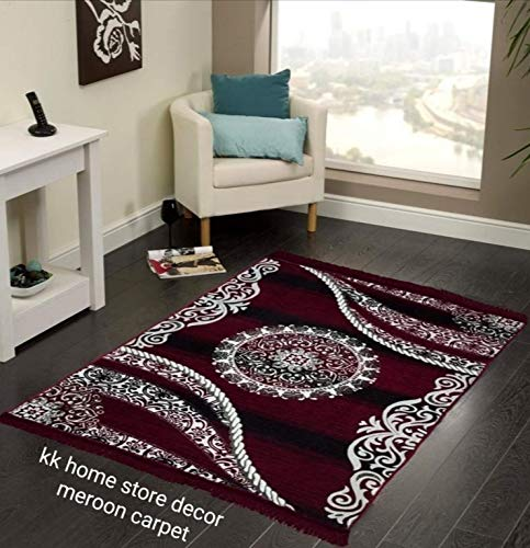 Kk Home Store Decor Royal Look Carpet – |60″ inch x 84″ inch | 150 cm x 210 cm | 5 Feet x 7 Feet |-Maroon for Living Room Bad Room Runner Guest Room durri for Yoga mat Jim Office School tample