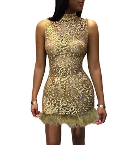 YOUJIA Damen Stehkragen Cocktailkleid Transparent Partykleid ...
