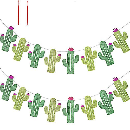 16 Pcs/15.6' (2 Pack) Fiesta Bachelorette Graduation Party Cactus Banner Garland Backgound String Cactus Glitter Green for Kids Birthday Summer Tropical Wedding Taco Cinco De Mayo Party Decor Favor