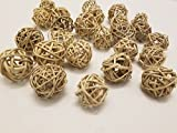 Old Candle Barn Wicker Rattan Balls - Vine Balls Table Wedding Party Christmas Decorative (Diameter 4cm, Natural Color) Bag of Appox. 25