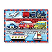 Melissa & Doug Vehicles Wooden Chunky Puzzle - Plane, Train, Cars, and Boats (9 pcs)