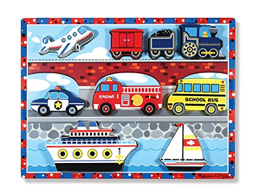 Chunky Puzzle Vehicles (Melissa & Doug Vehicles Wooden Chunky Puzzle - Plane, Train, Cars, and Boats (9 pcs))