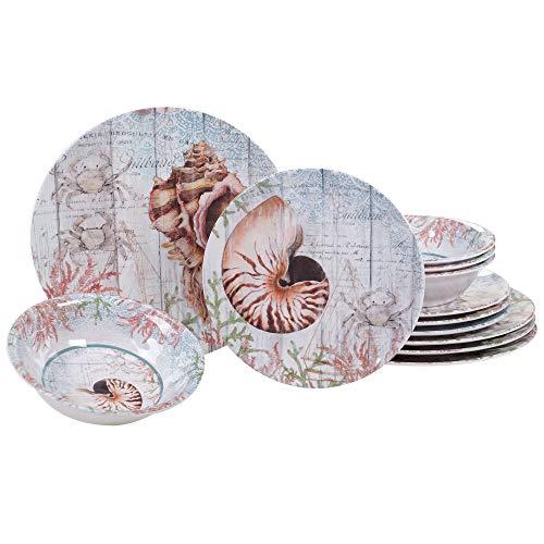 Certified International Sanibel Melamine 12 pc Dinnerware Set (Dinnerware Melamine Coastal)