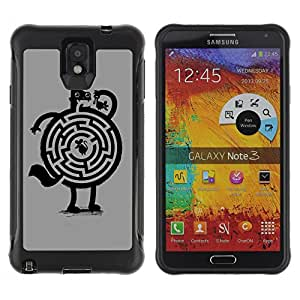 Hybrid Anti-Shock Defend Case for Samsung Galaxy Note 3 / Cat & Mouse Maze