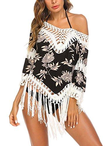 ADOME Damen Strandponcho Tunika Bikini Cover Up Gestrickte Kurz Strandkleid Top mit Quasten Knielang Pareo für Sommer