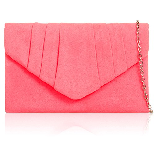 Envelope Ladies Neon Leather Faux Suede Xardi Bags London Evening Pink Women Clutch Prom Bridesmaid New qOIO8z