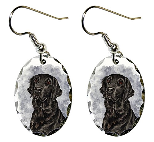 - Canine Designs Flat Coated Retriever Scalloped Edge Oval Earrings