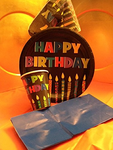 "Color Paper Plates Round (9"" Roound-18 Count, Happy Birthday (BLK))"