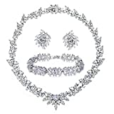 UMODE Bridal Style Cubic Zirconia Engagement Wedding Jewlery Set CZ Necklace/Earring/Bracelet