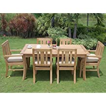 """New 7 Pc Luxurious Grade-A Teak Dining Set - 71"""" Rectangle Table, 4 Armless and 2 Arm / Captain Osborne Chairs #WHDSOSh"""
