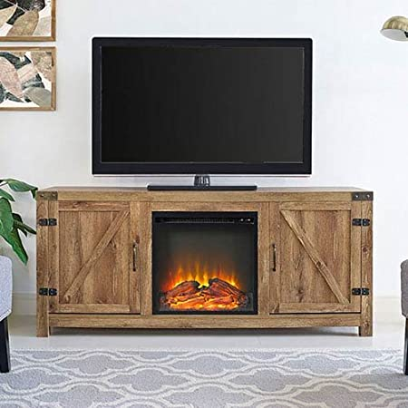 We Furniture Fireplace Tv Stand High Grade Mdf Barnwood One Size