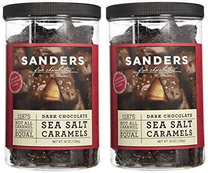 Sanders Dark Chocolate Sea Salt Caramels - 36 Oz (Value 2 Pack) by Sanders