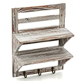 EZOWare Wall Mounted Organizer, 2-Tier Rustic Torched Wood Decorative Storage Wall Display Shelf Rack with 3 Key Hooks - Brown