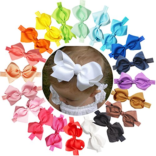 Baby Girls Solid Ribbon Hair Bows Headbands Big Bow Hair Bands for Toddler Pack of (Winter Headbands For Girls)