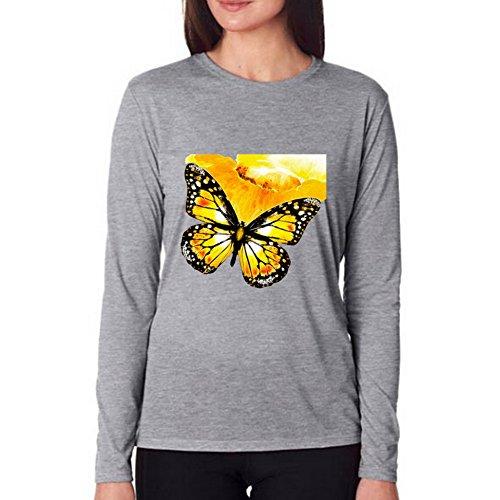 LucyLucy Rule Art Butterflies Painting Fine Safety Joy Crew Necks Force Long Sleeve Women T-shirt Size XL ()