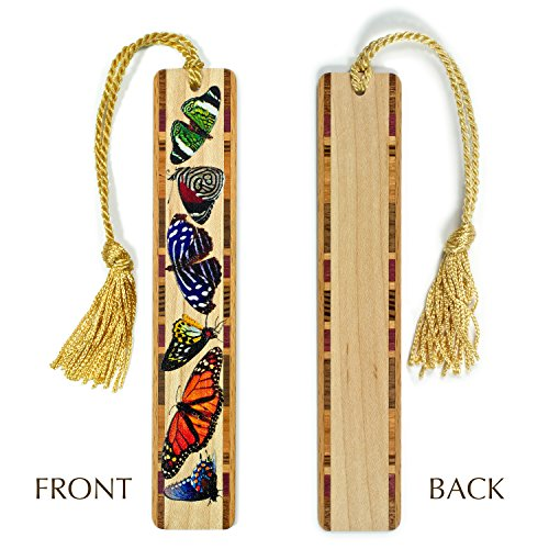 Butterflies in Color Wooden Bookmark with Tassel - Personalized version also available - search B011PIWPM6