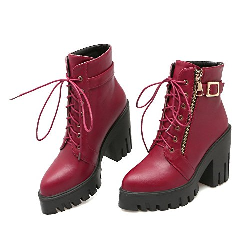 Red Closed Pu Pointed Solid Boots Zipper High Toe Women's AgooLar Heels Tq1gS