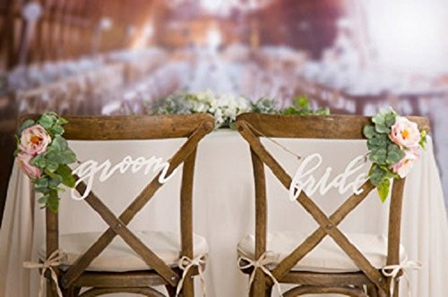 Amazon.com: Script Bride & Groom Chair Signs - Wedding Chair Signs ...