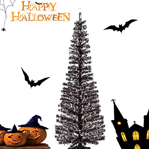 Joy-Leo 5 Foot Pop-up Halloween Christmas Tree with Skull Cut Out Sequins, Black Skull Tinsel Tree for Halloween Decoration with Plastic Stand, Collapsible & Reusable ()