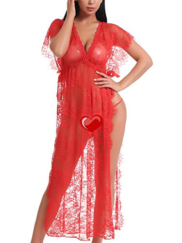 FasiCat Women Sexy Lace Mesh Lingerie Sleepwear Chemises Long Gown Nightdress by FasiCat
