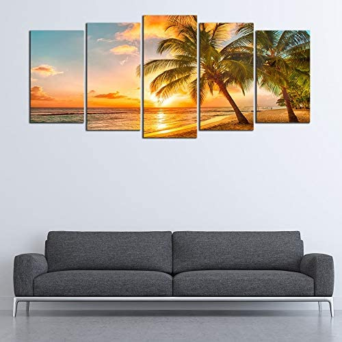 Wieco Art Cozy Sea Extra Large Modern Ocean Sunset Sea Beach Canvas Prints Pictures Paintings on Canvas Wall Art