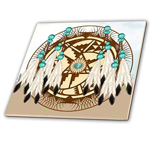 3dRose ct_108087_2 Designer One of a Kind Native American Art Ceramic Tile, - Tile American Ceramic