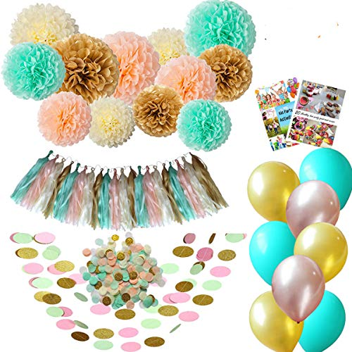 ecoZen Lifestyle Baby Shower Decorations Gender Neutral | Best Value 50 Decor Item Set Guarantee to Completely Transform Your Party | Ideal for Birthday/Baby Shower | Cute Matching Color ()