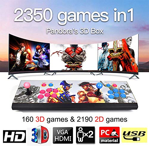 MOSTOP 3D & 2D Arcade Video Game Console 2350 Games in 1 Pandora's Box 160 3D Games 1080P HD 2 Players Arcade Machine with Double Joystick Support Expand 6000+ Games (2350 Hero Street Fighters) (Best Street Fighter Arcade Game)