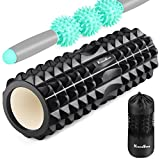 EocuSun Foam Roller, Muscle Roller Set, Massage Rollers with Muscle Roller Stick, Foam Rollers for Muscles Massage Stick Perfect for Exercise, Physical Therapy, Yoga, Pilates