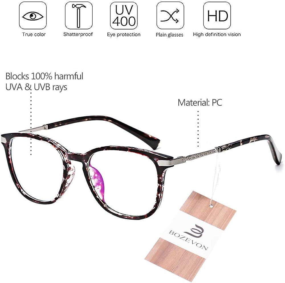 Brillenfassungen Runde Nicht Verschreibungspflichtige Gem/ütliche Zusammengesetzte Brillen mit Klarer Linse BOZEVON Brille Ohne Sehst/ärke f/ür Frauen M/änner
